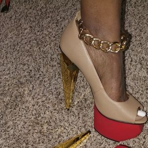 Shoes - Platform ankle chain heels